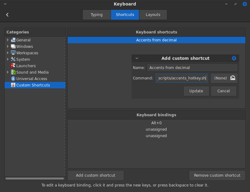 Screenshot of Cinnamon custom keyboard shortcut configuration