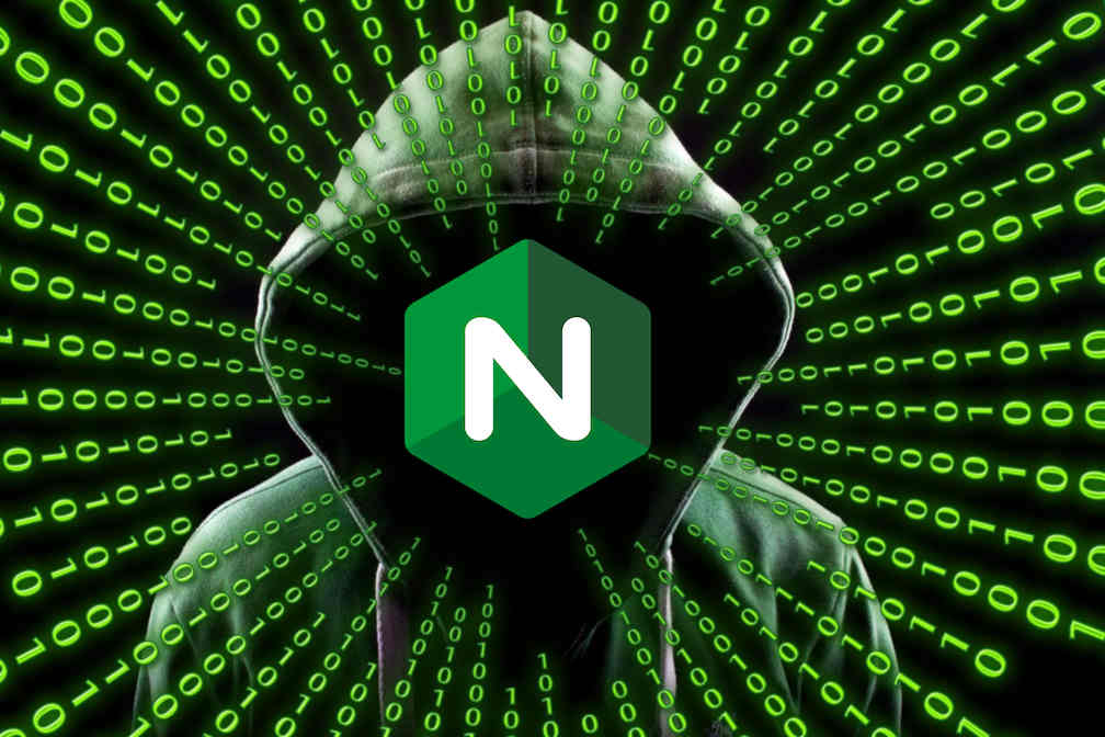Nginx logo over the shadowy face of a hooded hacker, with streams of ones and zeroes coming out of the hood.
