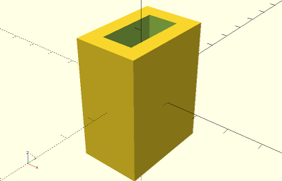 OpenSCAD screenshot showing example of the difference operation
